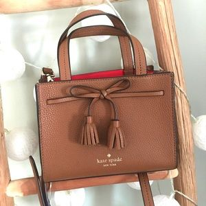 Kate Spade ♠️ mini satchel purse brown red tote